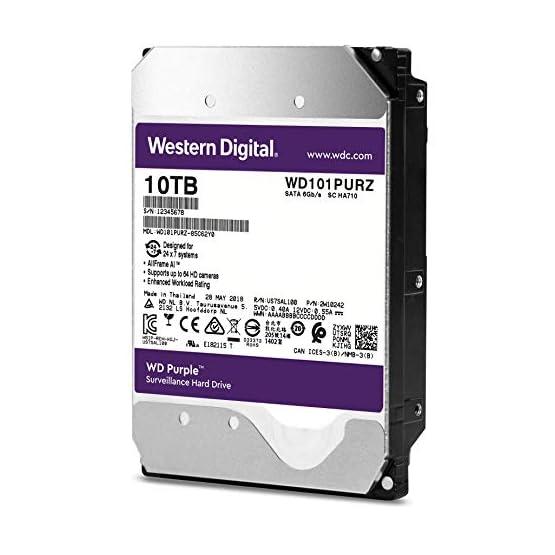 """WD Purple 10TB Surveillance Hard Drive - 7200 RPM Class, SATA 6 Gb/s, 256 MB Cache, 3.5"""" - WD101PURZ 41ByqgRPrJL. SS555"""