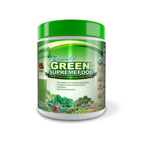 Dr.Colbert's Organic Fermented Green Supremefood by Dr. Don Colbert MD - Over 20 Organic Superfoods: Vegetables, Probiotics, Enzymes, Herbs & Fiber Blend - 210g - Apple Cinnamon Flavor (30 Day Supply)