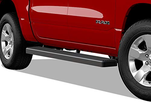 APS iBoard (Black 5 inches) 304 Stainless Steel Running Boards | Nerf Bars | Side Steps Compatible with 2019-2020 Ram 1500 Crew Cab Pickup 4Dr for New Body Style ONLY ()