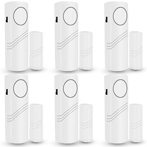 Door Window Alarm, 6 Pack Personal Wireless Security System DIY Kit Magnetic Sensor Guardian Protector Windows Glass Vibration Security Alarms for Home, Garage, Apartment, Dorm, RV and Office