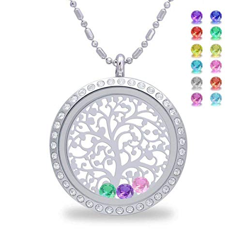 Birthstone Family Tree of Life Screw Floating Charm Living Memory Locket Pendant Necklace, from Daughter and Son, Birthday, mom, Grandma, (Diamond)
