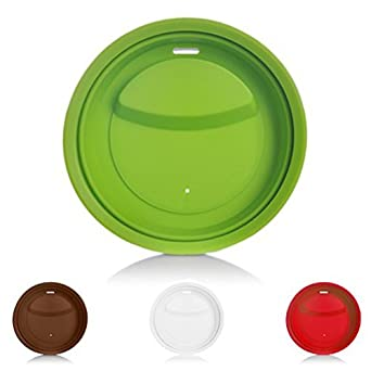 4 Pack Silicone Coffee Cup Lid Drinking Lid,Reusable and Durable Soft Silicone Drinking Lid Red,Green,White,Brown