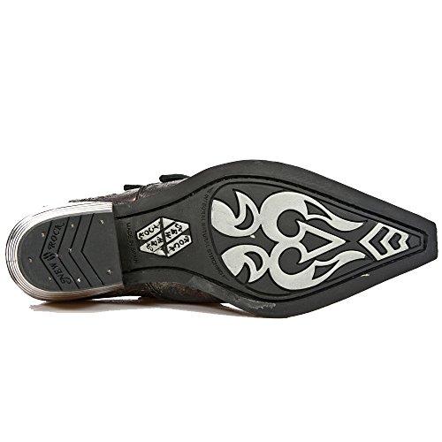 Schwarz-rote neue Rock-Schuhe im Vintage-Design mit 2 Skull-Buckles und Block-Heel in Metal-Look aus der New Rock Dallas Collection.