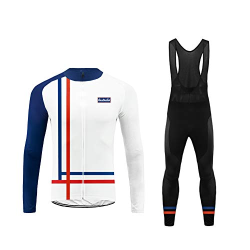 Uglyfrog USH19LJDT04 US National Flag Color Matching Mens Classic/Basic Cycling Jersey Winter Thermal Bike Top + Cycling Bib Tights Set Bicycle Equipment-Two Pieces Assos Equipe Cycling Jersey