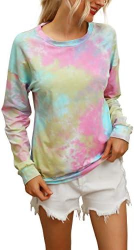 Hibluco Women`s Long Sleeve Camouflage Casual Loose Sweatshirt Pullover Tops Shirt