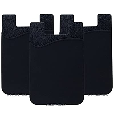 Cell Phone Wallet, Stick on Wallet (3 Pieces) by AgentWhiteUSA: (For Credit Card, Business Card & Id) | Works with almost every phone | iPhone, Android & Most Smartphones