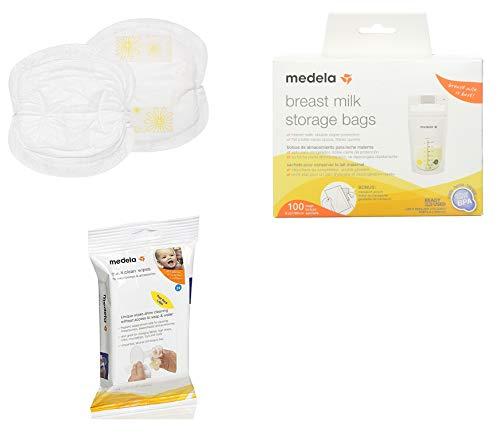 Medela Nursing Pads, Pack of 120 Disposable Breast Pads Bundled with Medela Breast Milk Storage Bags, 100 Count