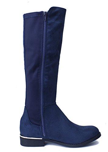 Boots AgeeMi con Basso Donna Eleganti marino Shoes Tacco Donna Inverno Stivali Blu xxHBOwgq