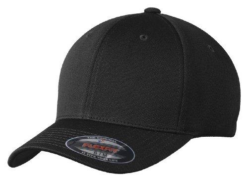 - Sport-Tek Men's Flexfit Cool & Dry Poly Block Mesh Cap S/M Black