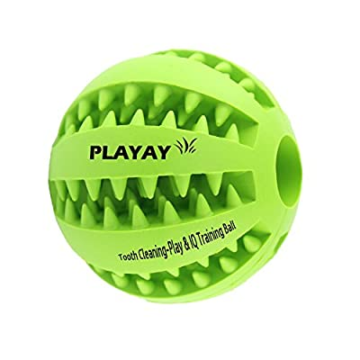 TOY IQ BALL FOR DOGS & CATS [Dental Treat][Bite Resistant] Durable Non Toxic- BPA FREE-Strong Tooth Cleaning Dog Toy Balls for Pet IQ Training/Playing/Chewing,Soft Rubber,Bouncy,Tennis Ball Size