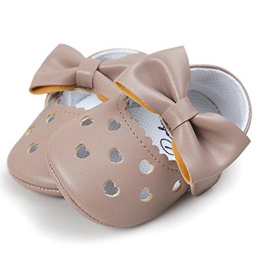 Ouneed® Krabbel schuhe , Baby Girl Hollow Out Bowknot Shoe Casual Shoes Sneaker Anti-slip Soft Shoes Khaki