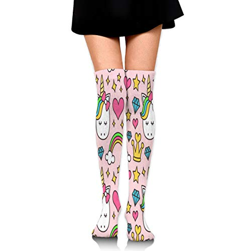 Women Stockings Over Knee Cute Cartoon Unicorn Crown Diamond Marvellous Party ()