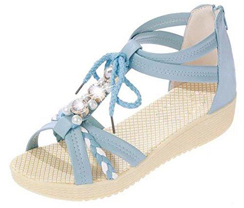 Sommer Sandalen weiblichen Studenten flache Sandalen und Pantoffeln blue