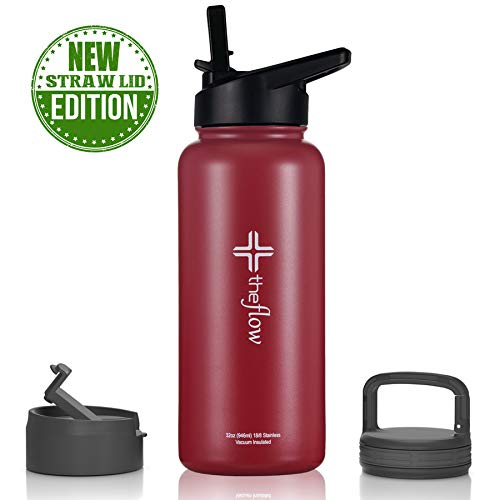 (theflow Insulated Water Bottle Large 32oz Stainless Steel Hydro Vacuum Flask with wide mouth Straw Lid, Coffee Flip Lid and Carabiner, Double Wall Sports Travel Metal Modern Tumbler for Coldest Drinks)