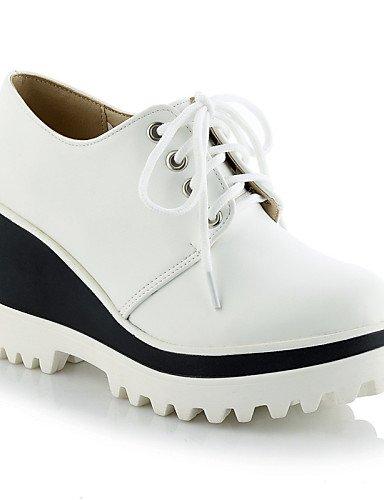 NJX/ hug Damenschuhe - High Heels - Outddor / Kleid / Lässig - Kunstleder - Keilabsatz - Wedges / Plateau / Rundeschuh - Schwarz / Rot / Weiß white-us6.5-7 / eu37 / uk4.5-5 / cn37