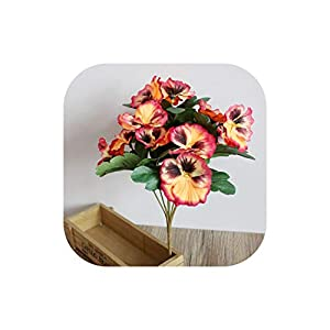 Party Office Bouquet Desk Pansy Home Decor Wedding Artificial Flowers Ornament Plant,Orange 28