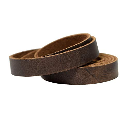 Hide & Drink, Leather Strong Strap (0.5 in.) Wide, Cord Braiding String, Medium Weight (1.8mm Thick) (48 in.) Long for Crafts/Tooling/Workshop :: Bourbon - Inch Rawhide 48