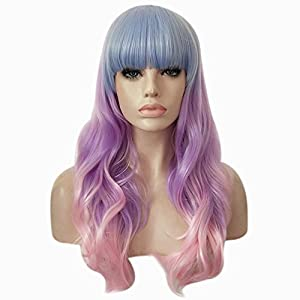 BERON 28″ Long Curly Wavy Rainbow Wig for Halloween Cosplay Costume Anime