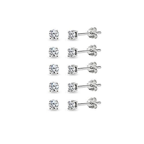 5-Pair Set Sterling Silver Cubic Zirconia 3mm Round Stud Earrings
