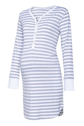 Happy Mama. Womens Maternity Hospital Nightdress Nursing Nightie Stripes. 589p (Grey Melange, US 6/8, M)