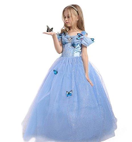 ELSA & ANNA® Mädchen Prinzessin Kleid Verrücktes Kleid Partei Kostüm Outfit DE-FBA-CNDR5 (3-4 Jahre, DE-CNDR5)