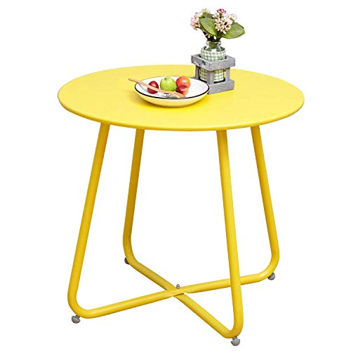 Grand Patio Steel Patio Coffee Table, Weather Resistant Outdoor Side Table, Small Round End Table, Yellow (Glass Round Sofa)