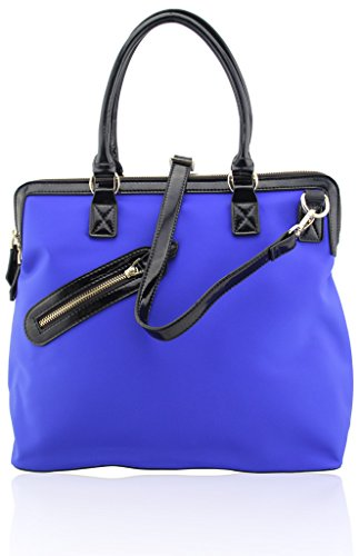 Meqiero Cow Canvas Tote Bags - Designer Inspired Satchel Handbags / Shoulder Bag Blue (Designer Handbag Inspired Canvas)