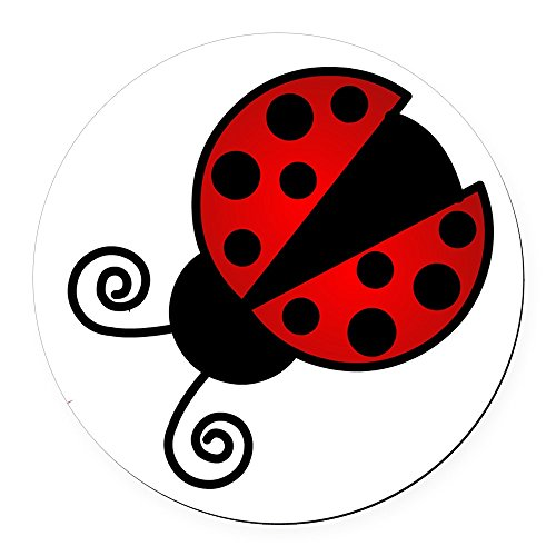 CafePress - Red Ladybug 1 Round Car Magnet - Round Car Magnet, Magnetic Bumper Sticker