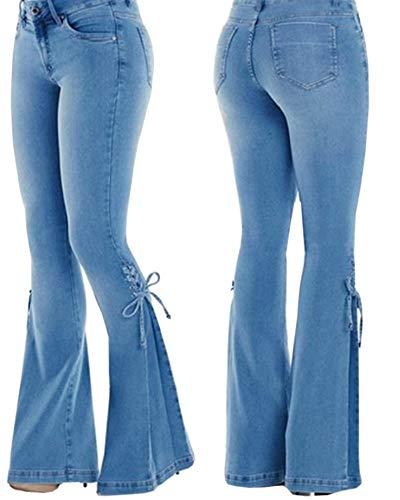 UZZE Women's Bell-Bottom Jeans Ladies High Waist Cute Bow Slim Fit Wide Leg Flare Pants Trousers Navy Blue