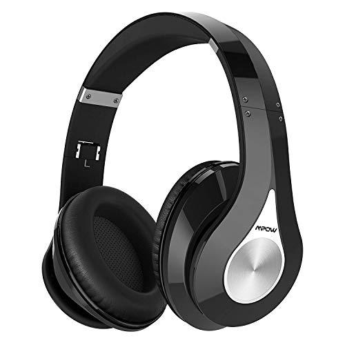 Mpow 059 Cuffie Bluetooth, Cuffie Riduzione di Rumore con Autonomia 20 Ore, Microfono CVC6.0, Fascia Morbida/Pieghevole, Cuffie Over Ear per Samsung/Huawei/iPhone/Sony e Altri Cellullari e PC-Nero.