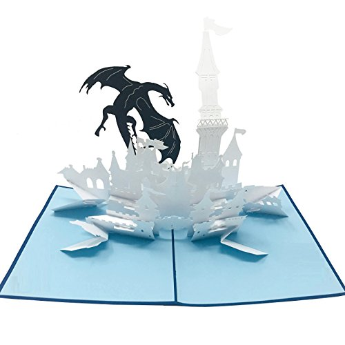 (Wow Dragon Castle - 3D Pop Up Greeting Card for All Occasions Birthday,Love,Congratulations,Good luck,Anniversary,Get well,Good bye,Father Day,Retirement,Cool Fun Kids - Premium Paper, Handcrafted)