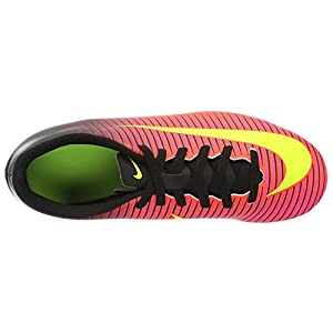 Nike Kids Boy's Mercurial Vortex III FG Soccer Cleat, Crimson/Volt/Black, Size 2.5Y