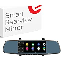 Ezonetronics In-Mirror 1080P Front and 720P Back View Mounted Video Dashboard Cam with Night Vision, Featuring Android 4.4 System Quad Core 1GB Ram, WiFi, GPS, Bluetooth, and FM Transmitter 7200BT