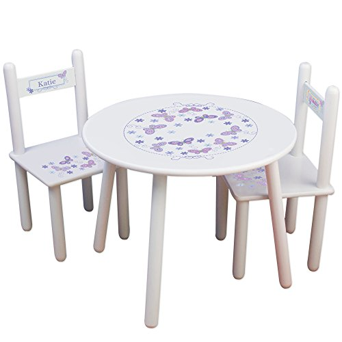 Butterfly Table And Chair Set (Personalized Butterflies lavender Childrens White Table and Chair Set)