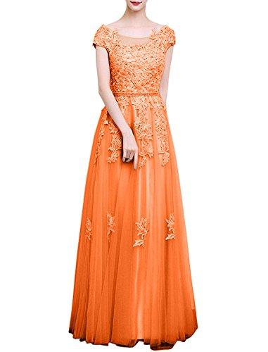 A Rock Orange Kurzarm Abschlussballkleider Damen Lang Charmant Linie Promkleider Silber Abendkleider qwzSE0vp