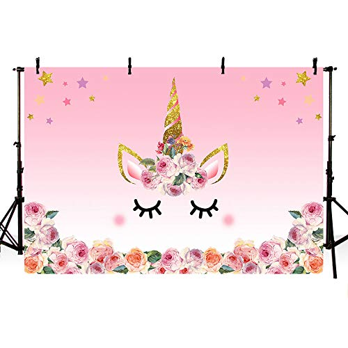 (MEHOFOTO 5x3ft Photography Background Unicorn Birthday Party Photo Backdrop Background Watercolor Flowers Roses Cute Stars Smiling Face Baby Shower Unicorn Head Sweet Pink Girls Photo Portrait Studio)