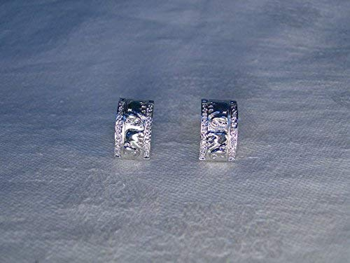 (Marvelous Estate 14K White Gold Elephant Diamond Huggie Earrings)