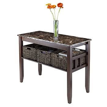 Winsome Wood Faux Marble Top Zoey Console Table with 3 Baskets