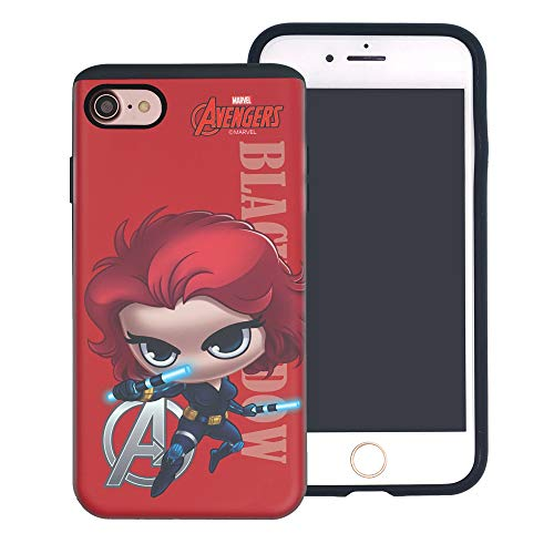 iPhone 8 / iPhone 7 Case Marvel Avengers Layered Hybrid [TPU + PC] Shock Absorption Bumper Cover for [ iPhone8 / iPhone7 (4.7inch) ] Case - Mini Black Widow