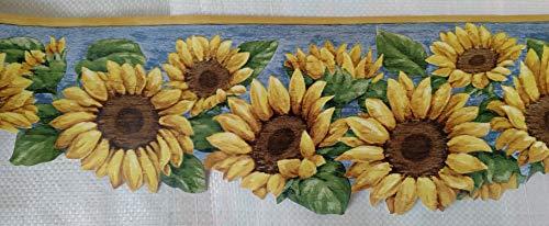 Sunflower Country Kitchen Laundry Wallpaper Border - Light Blue