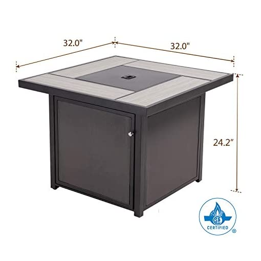 Fire Pits Grand patio Outdoor Propane Fire Pit Table with Cover/Lid for Patio, 32 inch 40,000 BTU, Textilene/Square firepits