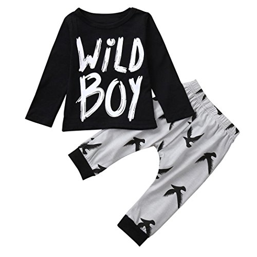 SUNTEAMO 2PCS Toddler Baby Letter Print Top Blouse