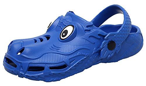 ChayChax Boy's Girl's Cute Animal Garden Clogs Shoes Cartoon Dragon Summer Sandals Slippers Ultra-Soft Walking Beach Water Shoes for Kids Blue