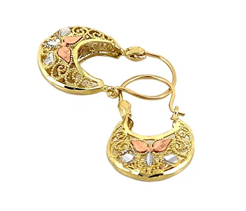 Filigree Basket (Real 10K Tri Color Yellow, White, & Rose Gold Filigree Basket Hoop Earrings, Height = 23mm, Width = 13mm)