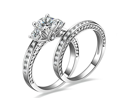 dding Women Ring Set 925 Sterling Silver Ring, Round White Cz Inlaid Sz 8 ()