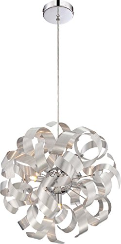 Quoizel RBN2817MN Ribbons Curved Metal Pendant Ceiling Lighting, 5-Light, Xenon 200 Watts, Millenia (17