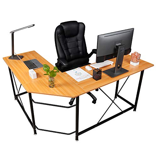 Hooks 100 Numbered (Bonnlo Reversible L Shaped Desk Modern Home Office Corner Desk 3-Piece L-Shape Computer Desk with Reversible Tabletop&Bagpack Hooks)