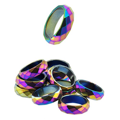 Set of 10 Mixed Size Magnetic Simulated Hematite Stone Healing Band Finger Rings (Rainbow Faceted) (Hematite Promise Ring)