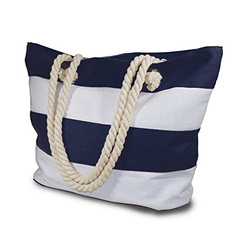 Beach Bag - Beach Bag With Inner Zipper Pocket - Large Sized Mesh Cotton Striped Tote Bag & Bonus Phone Dry bag
