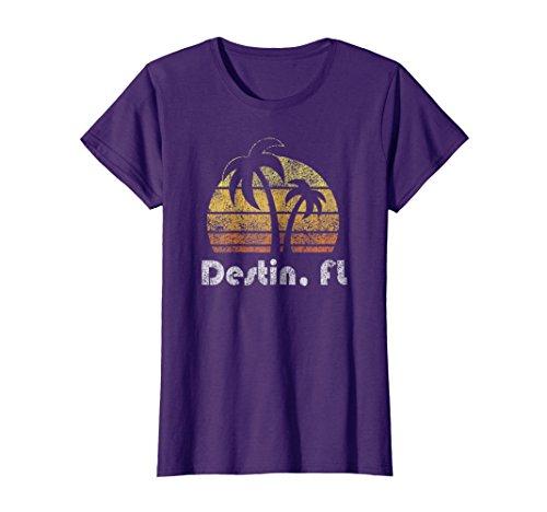 Womens Retro Destin T-Shirt Florida Beach Shirt XL Purple